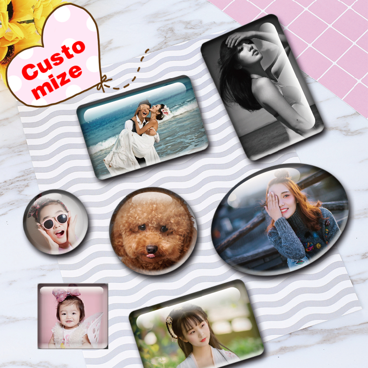 Personalized customization Artificial glass magnetic fridge magnets tourist souvenirs Good memories special gifts for friends in Fridge Magnets from Home Garden