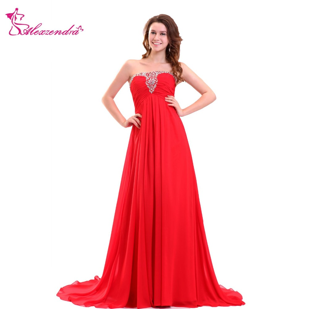 Alexzendra Red Chiffon Long A Line   Prom     Dresses   Strapless Beaded Party   Dress   Evening   Dresses   Plus Size