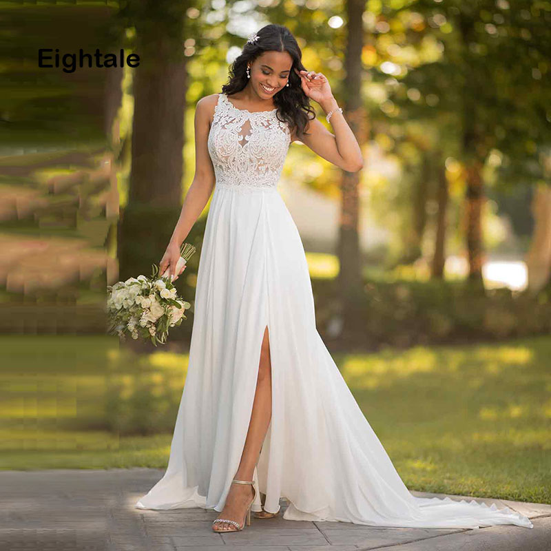 Eightale Boho Wedding Dress Beach Appliques Lace A Line Chiffon Backless Side Split Simple Vintage Wedding