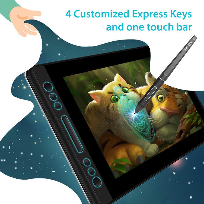 HUION Kamvas برو 13 GT-133 الميل دعم بطارية خالية القلم لويحة الرسم البياني شاشة عرض مع مفاتيح صريحة و اللمس بار