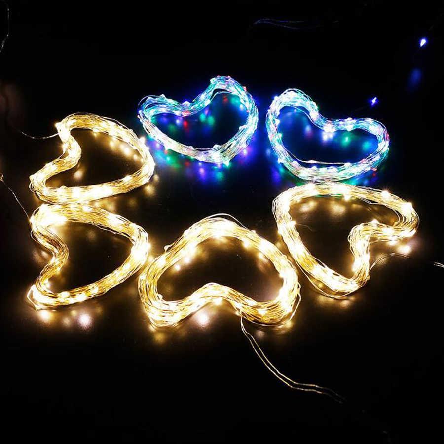 Kawat Tembaga LED String Lampu 1M 3M 5M Liburan Pencahayaan Peri Lampu Natal Garland untuk Tahun Baru pesta Pernikahan Dekorasi