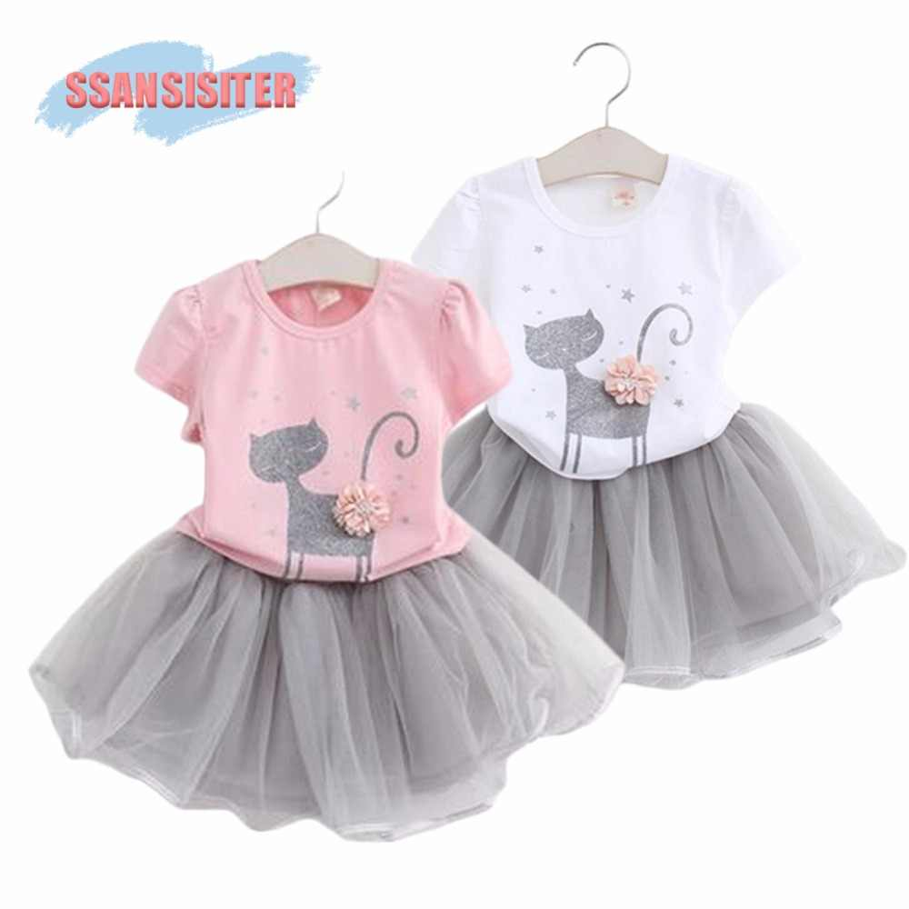 6c10f8fd55a4c SSANSISITER Girls Tutu Dress Set Hello kitty Cartoon Kitten Printed Flower T -Shirts + Lace