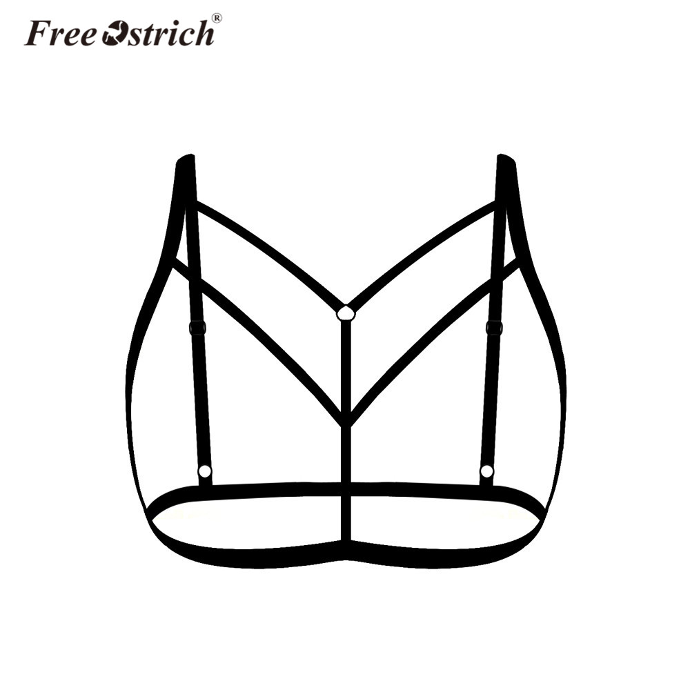 Free Ostrich Halter Elastic Cage Sexy Strappy Bra Bustier Gothic Women Sexy Cage Bra Ladies Cropped Body Belt Black Hot2