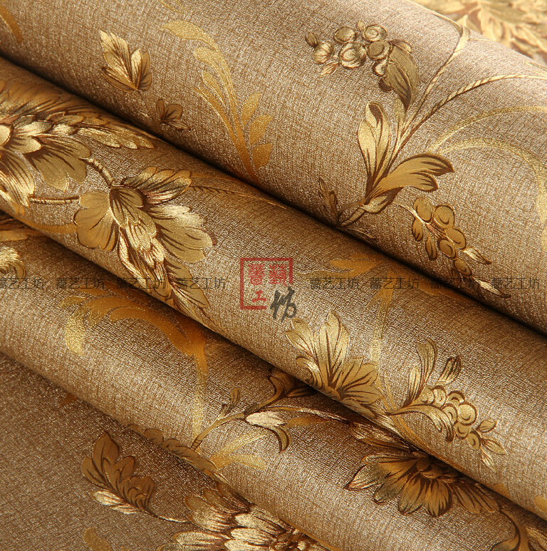 Buy luxury chinese flower wallpaper 3d for Gold wallpaper living room