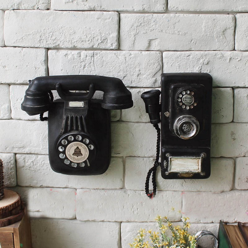 Resin vintage telephone european style handwork decoration for Hand work decoration