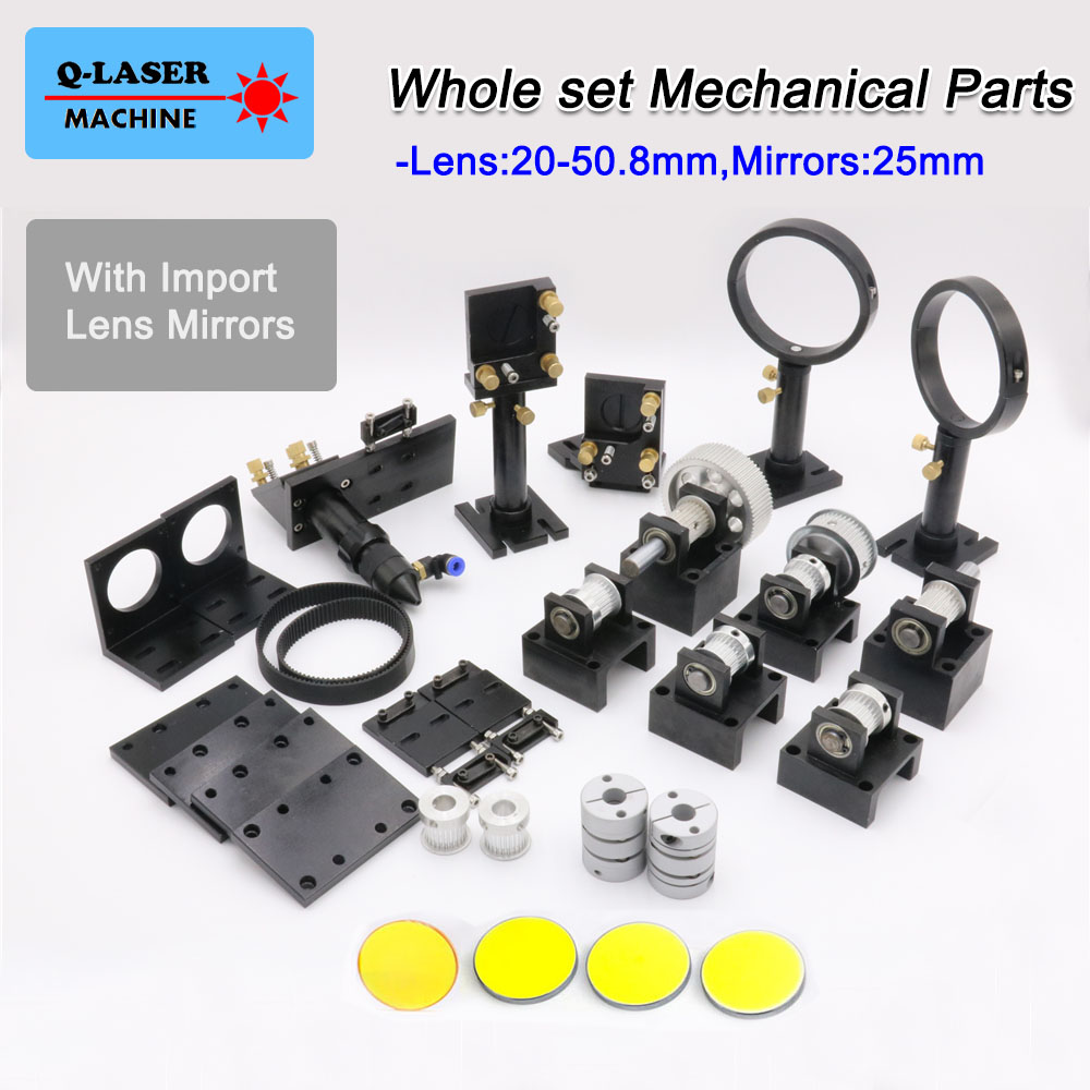 CO2 Laser Mechanical Spare Parts Sets Focus Lens 20-50.8mm & Mirror 25MM for DIY CO2 Laser CO2 Laser Engraving Cutting Machine good quality scanboxpt3e8 10 6d 8 5mm aperture 10 6um co2 laser engraving supplies digital signal collimator mirror galvanometer