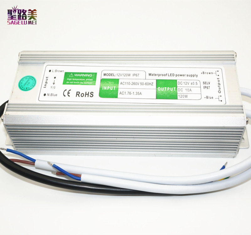 best price 1 pcs AC110-260 to DC12V 120W IP67 Waterproof Electronic Aluminum alloy LED Driver Transformer Power Supply 260 1 12 50271