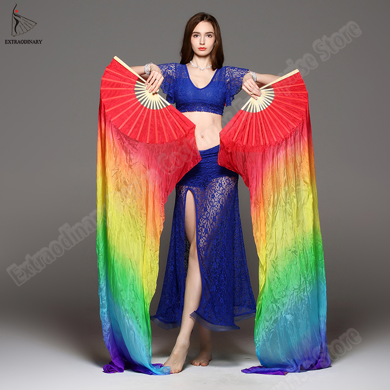 New Women 100% Silk Veils Belly Dance Costume Fans For Dance Silk Fans 150cm 180cm 3 Colors Handmade Hand Dyed 2 Pieces