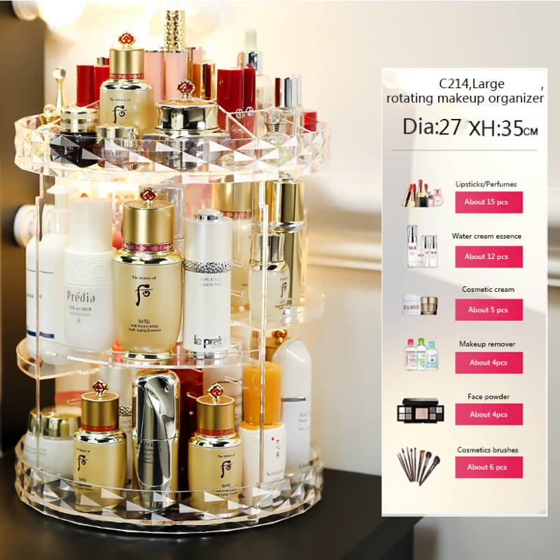 HTB1rnzcXQWE3KVjSZSyq6xocXXaJ - Rotating Crystal Cosmetic Storage Box 360 Degree Rotation Transparent Acrylic Cosmetics Storage Box