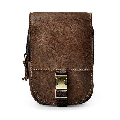 Homme tendance 7 pouces avec crochet cuir petite taille sac à main Crazy Horse cuir métal automatique bouton décontracté poche