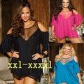 Promoção Big Plus Size 4XL Senhoras Deslizamentos de Renda Macia Solto Malha Sleepwear Meia Transparente Lingerie Camisola de Alta Qualidade 2016