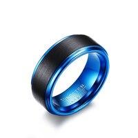Ze Stali nierdzewnej Niebieski Pierścień Węglik wolframu Nowa Moda Obrączki dla Mężczyzn Biżuteria USA Rozmiar 7 do 12