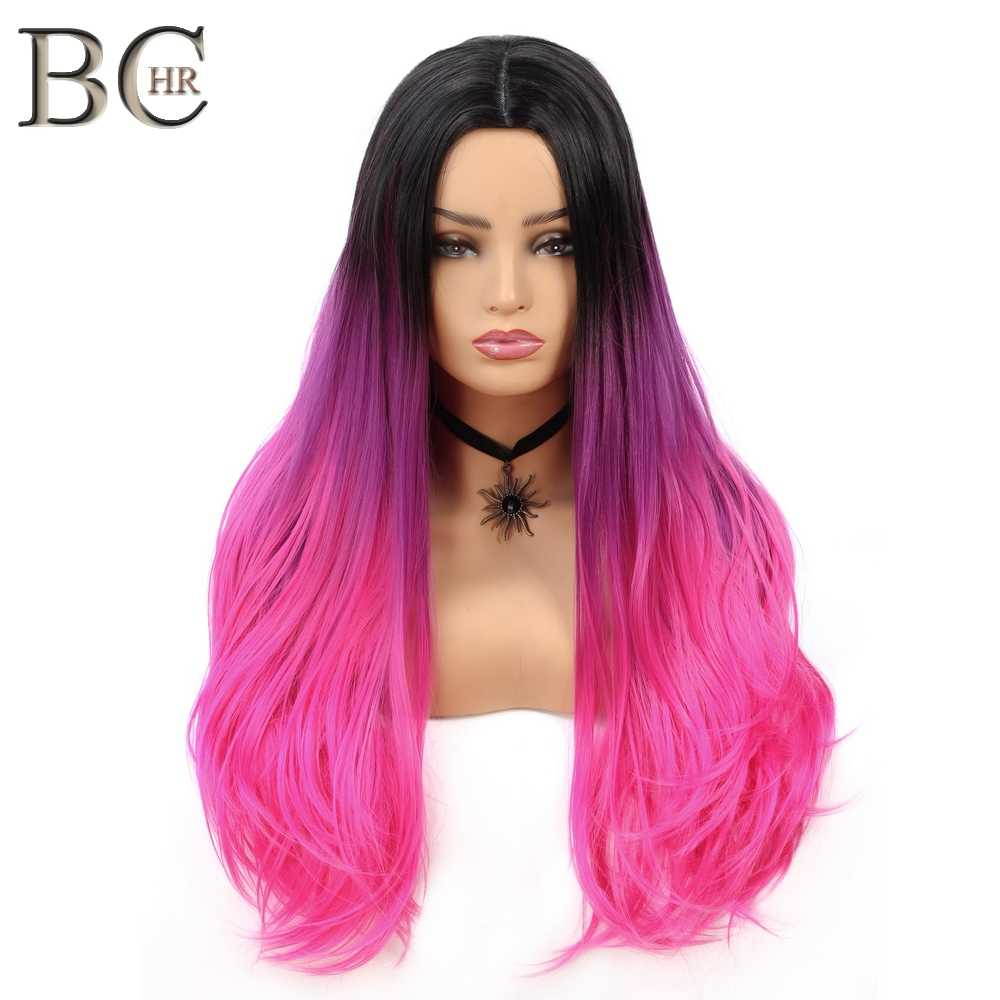 BCHR Long Ombre Middle Part Wig Black to Pink Synthetic Wigs for Women Middle Part Cosplay Wig for Hollywood Party Hair