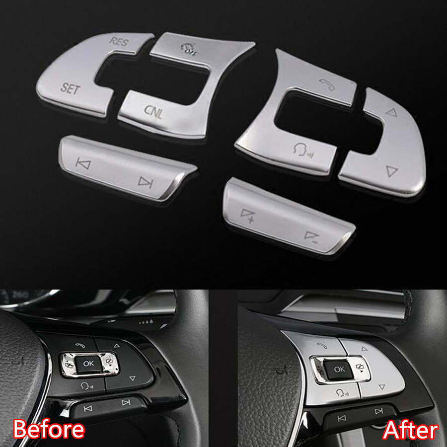 YAQUICKA 6Pcs/set Car Steering Wheel Button Switch Decor Trim Styling Cover Sticker For VW Passat B8 Tiguan L GOLF7 MK7 цена