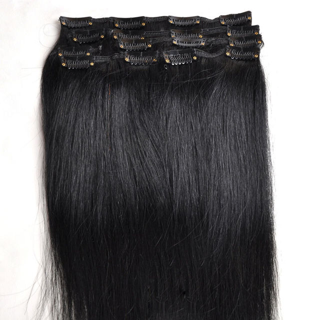# 1 jet preto melhor clipe de venda em extensões de cabelo humano Natural cabelo humano 100% Remy brasileiro virgem do cabelo -
