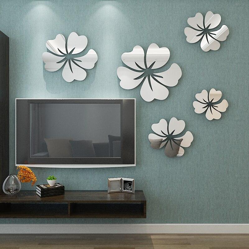 5 pz Fiore Modello Wall Sticker Home Decor 3D Decalcomania Della Parete di Arte DIY Specchio Adesivi Murali Soggiorno Decorazione In Argento/oro