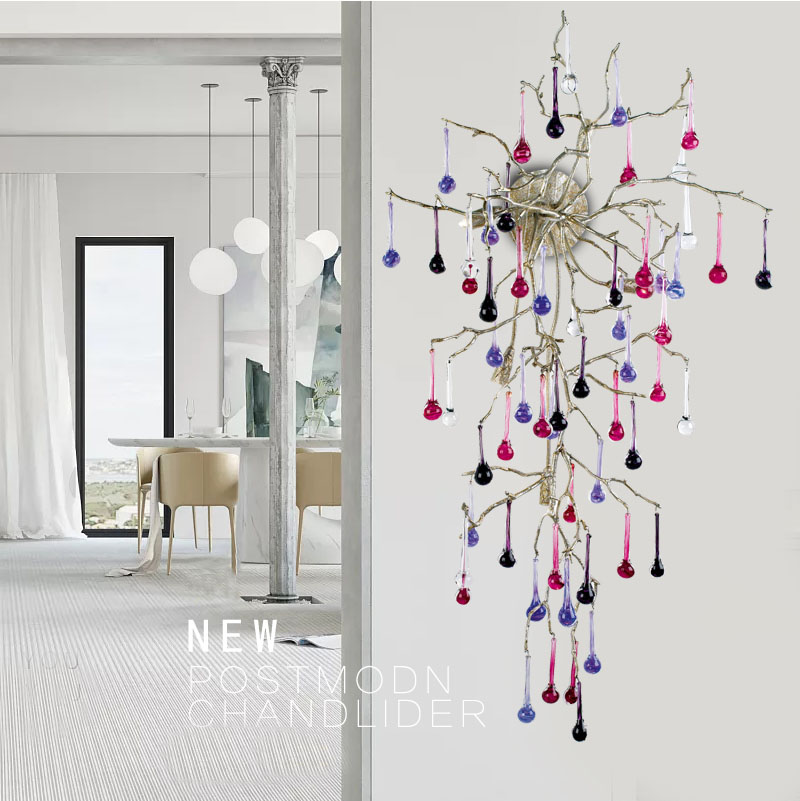 Phube Lighting Artistic Branches Crystal Wall Lamp Water Drops Wall Light Colored Glazed Bar Salon Copper