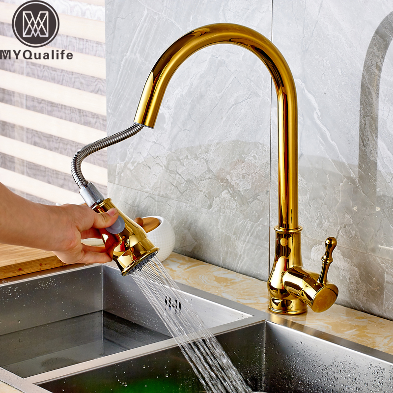 High Arch Kitchen Faucet Golden Kitchen Sink Faucet Pull Out Rotation Stream Spray Mixer Tap Hot Cold Crane Deck Mounted xoxo kitchen faucet brass brushed nickel high arch kitchen sink faucet pull out rotation spray mixer tap torneira cozinha 83014
