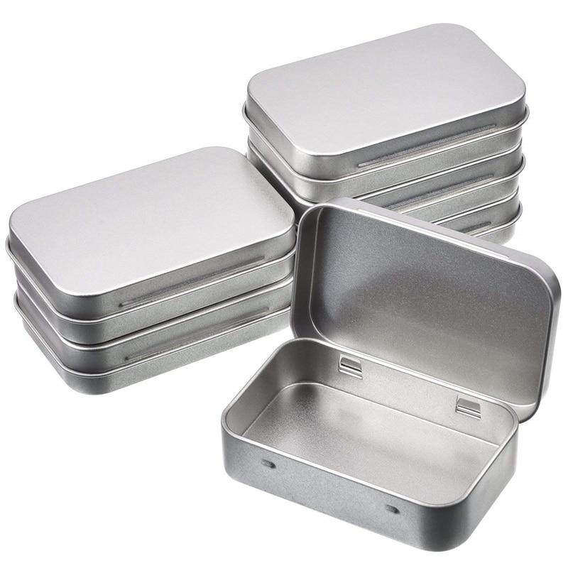 12 pièces petite boîte de rangement en métal étain argent boîte de rangement boîte organisateur pour argent pièce bonbons clé 9.5*6*2cm