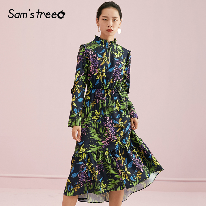 Samstree Autumn Women Dress Floral Print Stand Collar Female Dress Elastic Waist A line Young Lady