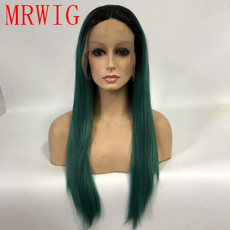 MRWIG Natural Straight Synthetic Lace Front Wig Ombre Meidum Green 18in 45cm Real Hair Short Dark Roots Middle Part