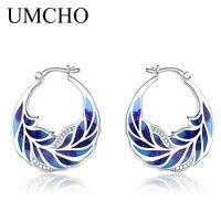 UMCHO Handmade Enamel Flower Clip Earrings for Women Cubic Zircon Leaf Color Fashion Designer Jewelry Party Elegant Wedding Gift