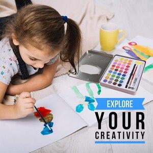 Image 5 - Juego de pintura de acuarela sólida en 36 colores Kit completo de pigmento de pintura portátil, caja de hierro, regalo para estudiantes principiantes, suministros de Arte Artístico para artistas