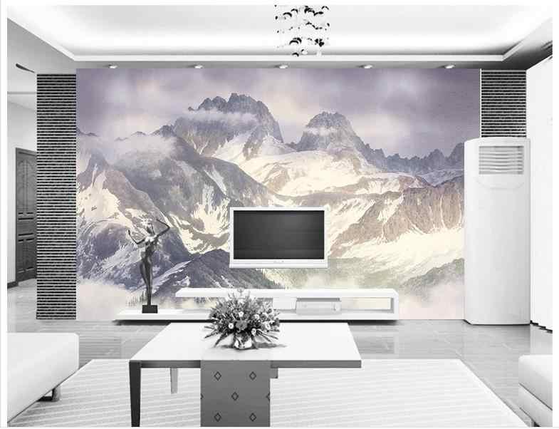 カスタム 3d の壁紙 3 d 壁の壁画壁紙 Hd 高原雪山風景背景の壁の紙 3d 壁装飾
