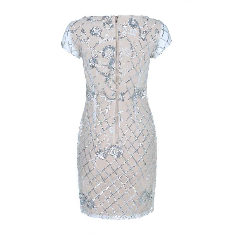 Beateen 2018 nova chegada branco bordado floral lantejoulas bandage vestido de malha manga curta sexy clube festa mini bainha feminina
