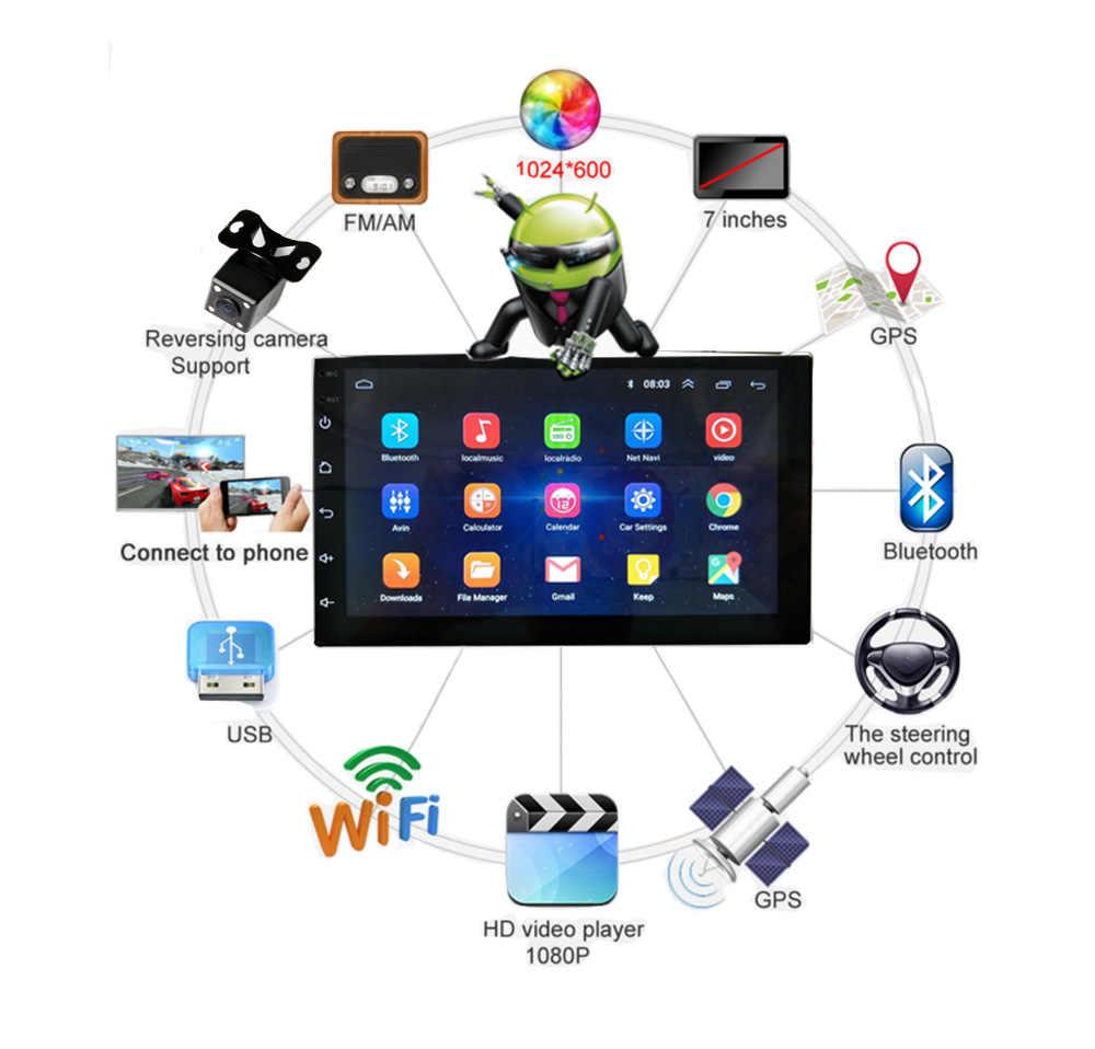 2 Din Android Radio Bluetooth navegación GPS navegador Wifi 1024*600 Mesa coche reproductor Multimedia retrovisor cámara de aparcamiento de respaldo