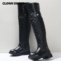 CLOWN DUCKS Autumn Winter Girls Fashion High Boots Female Kids PU Leather Warm Snow Boots Children