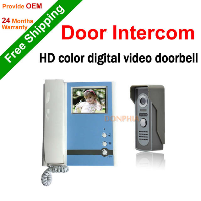 Free shipping Video intercom wired video door phone 4.3'' handset intercom rainproof and night vision for Home security system