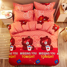 Red Bear Cartoon Kids Bedding Sets Russia Single Twin Queen Size For boy Child baby Duvet Cover Set Sheet 4PCS Bed
