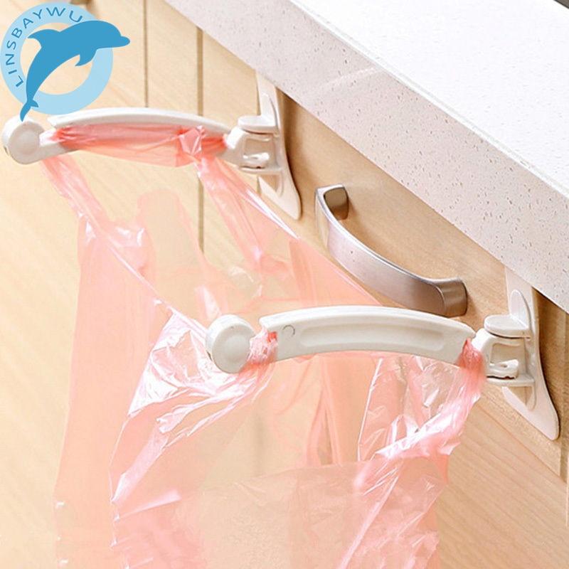 2pcs Kitchen Cabinet bags hooks Trash Garbage Bag Hanger Cupboard Door Hanging Rack holder for storage bag kitchen accessories