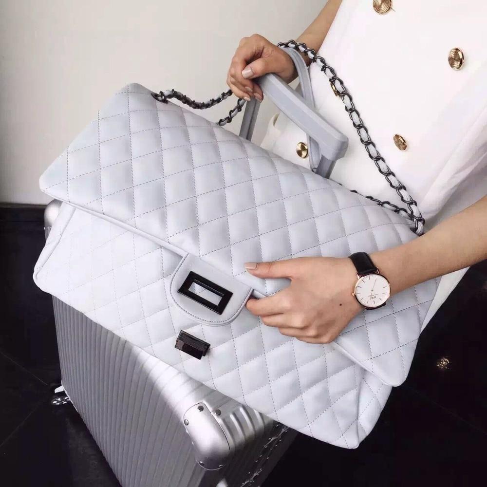 7b99132e58 big women messenger bags brand leather shoulder bag maxi jumbo flap bags  black white silver quality chains handbag