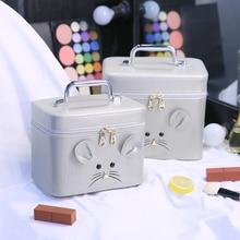 Cartoon Fashion Double Layer Women Makeup Bag Big Portable Travel Cosmetic Trunk Case Professional Multifunctional Make Up Box