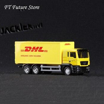 1/64 skala Express DHL ciężarówka towarowa modele żółty wycofać stop z tworzywa sztucznego z pudełkiem zabawki do kolekcji wyświetla dzieci prezenty