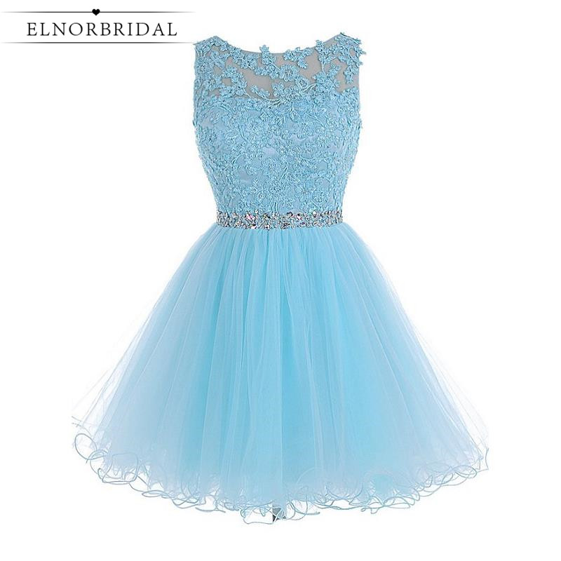 Sky Blue Short Cocktail Dresses 2017 Sexy Robe Cocktail Courte Chic Formal Women Robe Dentelle Party Prom Dress Pageant Gowns