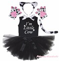Party Kids Little Milk Cow 6PC Headband Paw Tail Bow Shirt Gauze Skirt Costume
