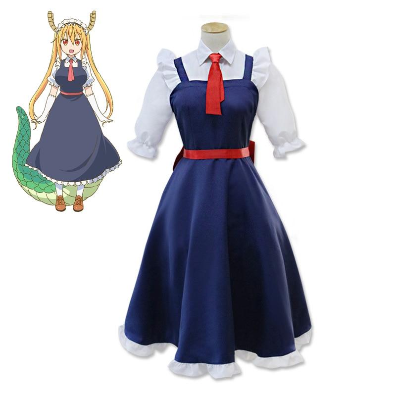 Anime Miss Kobayashi's Dragon Maid Tohru Cosplay Costume With Wig Headband Kobayashi san Chi no Maid Dragon Costume Uniforms
