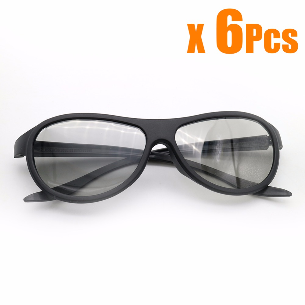 6pcs / lot Ауыстыру AG-F310 3D көзілдірігі LG TCL үшін Polarized Passive Glasses Samsung SONY Konka нақты 3D Cinema ТВ компьютер