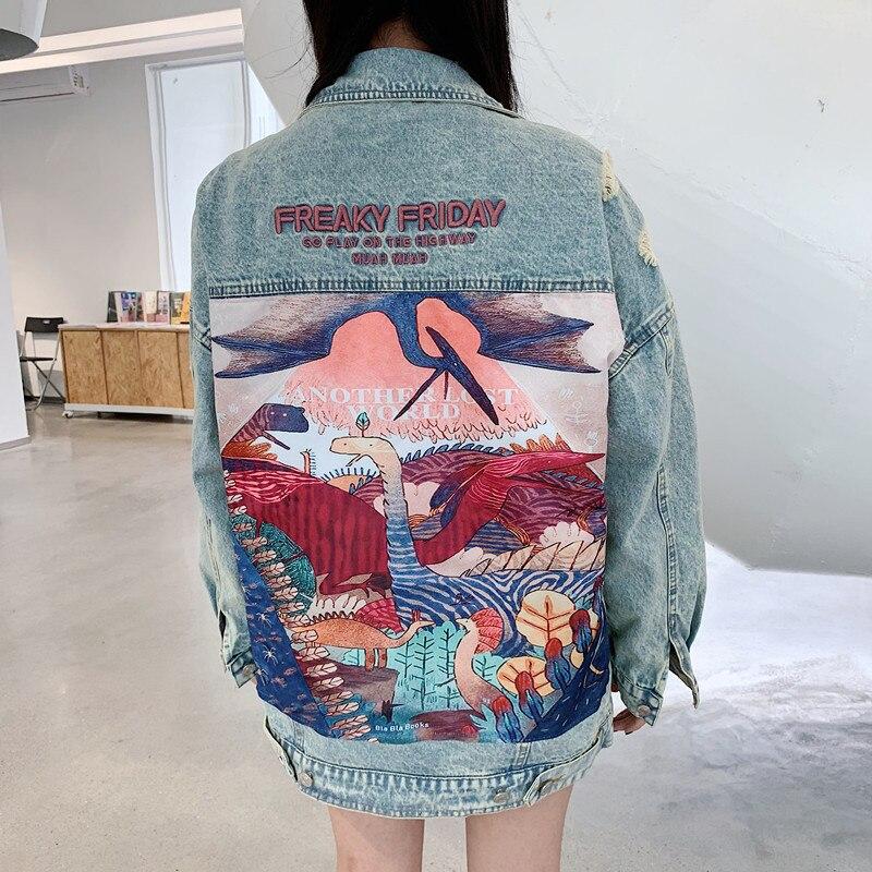 HTB1ro0ubR1D3KVjSZFyq6zuFpXaN RUGOD 2019 New Autumn Funny Cartoon Print Long Denim Jacket Women Vintage Streetwear Punk Style Jean Jacket casaco feminino