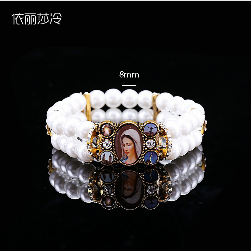 Catholic Bracelet Saint Mary Pearl Bracelet Beaded Handmade Cross Rosary Bracelet Men And Women Jewelry Gifts Keep You Fit All The Time