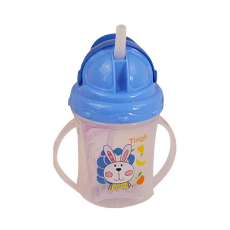 Bebê bonito garrafa recém-nascidos pp alimentação coelho dos desenhos animados copo de palha com alças beber leite garrafa de alimentação copos de sippy para crianças bebê