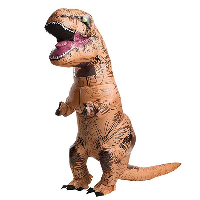 Christmas Adult T-REX Inflatable Costume Cosplay Dinosaur Animal Jumpsuit Halloween Costume for Women Men Blow Up Fancy Dress