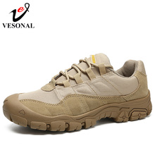 VESONAL Male Sneakers Shoes For Men Adult Non Slip Casual Footwear Outdoor travel hiking shoes Autumn Cow Suede Leather