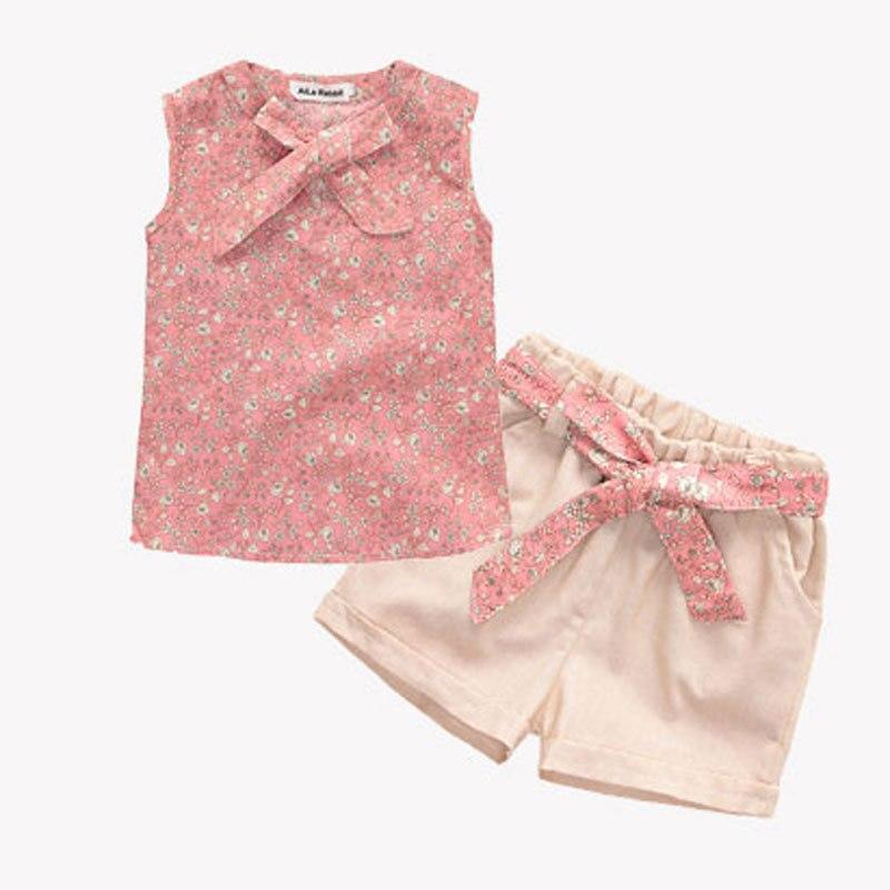 Aile Rabbit 2017 New children chothes set Fashion girls clothing set kids clothing Vest + shorts girls summer clothing 2018 ...