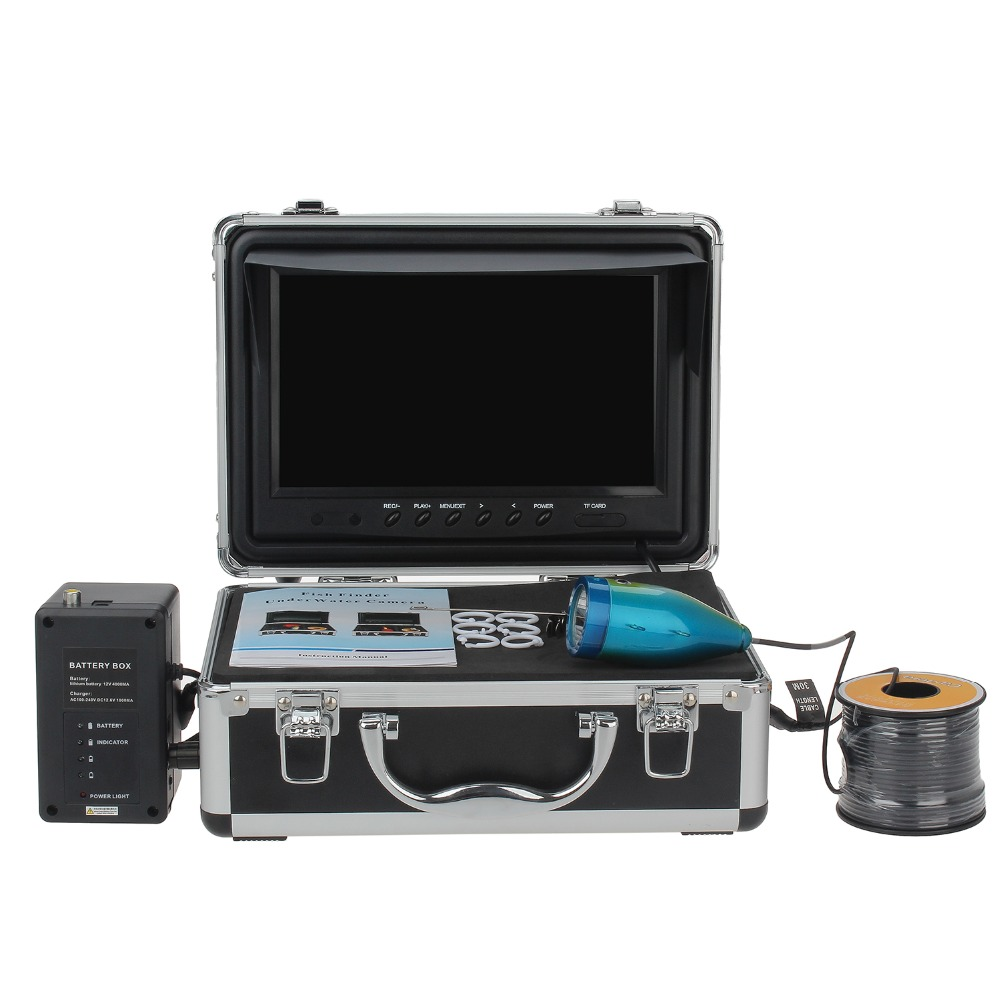 Eyoyo Original 30M Fishing Camera Underwater Fish Finder 9LCD Monitor HD 1000TVL Video Camera DVR Video Recording White LED 30m video