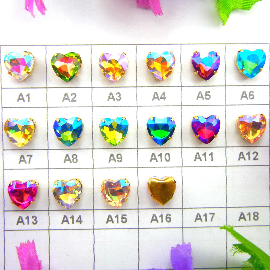 AB colors Gold claw settings 7 sizes Heart shape  Sew on glass Crystal rhinestone beads shoes garments diy accessories trim