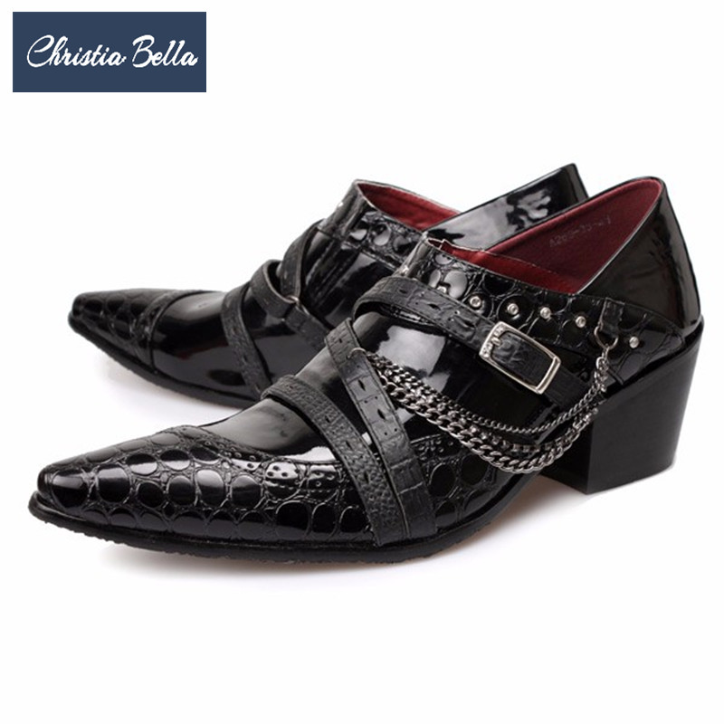Christia Bella British Chains Men Oxford Shoes Pointed Toe Genuine Leather Men Brogue Shoes Italian Business Wedding Dress Shoes christia bella men pointed toe genuine leather slip on british formal dress shoes vogue summer slippers oxfords plus size 38 47